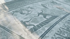 Detail of a floor mosaic depicting sports, fencing and cross country skiing Stock Footage
