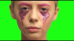 A girl with short hair and pink make-up art Stock Footage