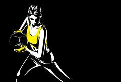 Woman doing medicine ball exercise. Piirros