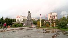 Kirov street in the autumn area of Konev Stock Footage