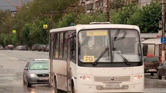 Kirov street in the fall of the bus Stock Footage