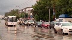 Kirov street in the autumn rain in the bus Stock Footage