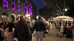 La Rambla in Barcelona at Night Stock Footage