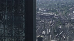 Frankfurt Main Railwaystation - Aerial Stock Footage