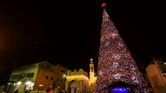 Christmas tree in Nazareth, Israel Stock Footage