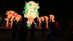 Shanghai,China-:Illustrated lanterns during Chinese new year Stock Footage