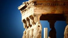 Greece Athens Athina Athen Acropolis Parthenon Parthenon Odeon Temple Europe Stock Footage