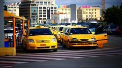4K Taxi stand at Piraeus harbor Athens Athina Athen Greece Europe Stock Footage