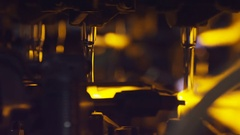 Yellow fire in the furnace at the glass-blowing factory Stock Footage