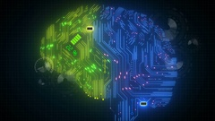 Concept colored circuit board in form of human brain, Hud display and animation Stock Footage