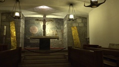 4k Prayer room and decoration in the cellar of Salzburg cathedral Stock Footage