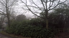 Right Side View of a driving plate foggy UK Countryside 4K Stock Footage
