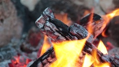 Top view of fireplace. Fire buring at night during the summer close up Stock Footage