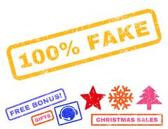 100 Percent Fake Text Rubber Seal Stamp Watermark with Bonus Stock Illustration