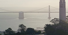 Aerial Of Coit Tower And San Francisco Skyline Bay Bridge Stock Footage