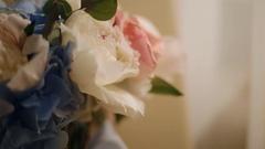 Wedding bouquet near the window Stock Footage