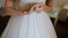 Hands of the bride waiting for her groom Stock Footage