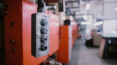 A switch swinging at a printing establishment place. A view of printing machine Stock Footage