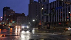 Nighttime Establishing Shot of Traffic in Pittsburgh Stock Footage