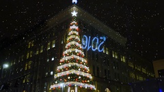 Large Christmas Tree on Building Corner in Downtown Pittsburgh	 	 Stock Footage
