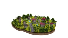 Symbolic island life of a small town, with people's daily life. As Sims 3d Stock Footage