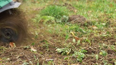 Cultivating seedbed with garden tiller Stock Footage