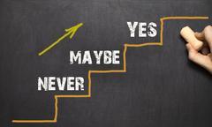 Never - Maybe - YES. On bkack background Stock Photos
