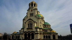St. Alexander Nevsky Cathedral in the center of Sofia, capital of Bulgaria Stock Footage