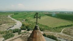 Khor Virap Monastery in front of Ararat Mountain, aerial view Stock Footage