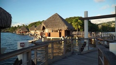 POV at night of overwater bungalows at the InterContinental Hotel, Tahiti, Frenc Stock Footage
