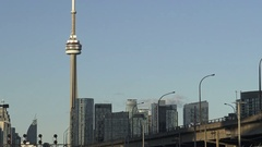 Toronto Cityscape with view of CN Tower and Gardiner Expressway Stock Footage