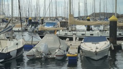Berth sporting boats in the seaport Stock Footage