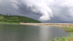 Fishermen on a boat, just before the storm Stock Footage