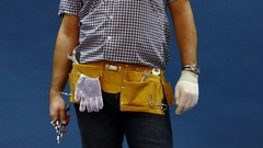 Male Construction Worker With Tool belt. Close up view. Arkistovideo