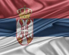Serbia flag with a glossy silk texture. Stock Illustration