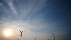 Wind turbines, sunset, Austria Stock Footage