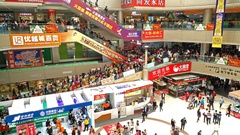 Lots of consumers visiting a big shopping Mall at the new year holidays 4K Stock Footage