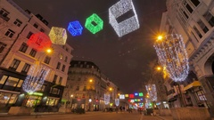 Colorful Christmas Illumination on the Streets of Brussels Stock Footage