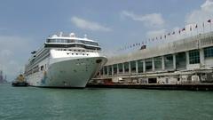 HONG KONG Cruise ship at Ocean Terminal Stock Footage