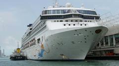 HONG KONG Star Cruise ship Virgo berthed at Ocean Terminal Stock Footage