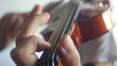 Violin playing [practicing intonation] Stock Footage