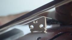 Violin playing [bridge close up] Stock Footage