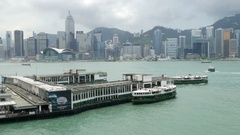 Star Ferry piers at Ocean Terminal Tsim Sha Tsui Stock Footage
