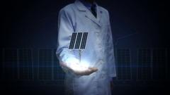 Researcher, Engineer open palm, Solar panel, solar energy generator. Stock Footage
