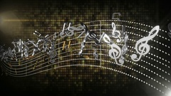 3d music notes flowing with abstract line tune on isolated background sheet Stock Footage