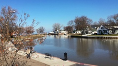Establishing shot of marina near Vermillion Ohio Stock Footage