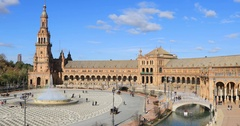 Plaza de Espana in the day time in Seville Stock Footage