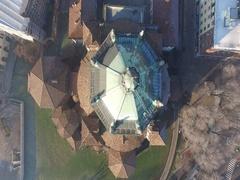 Basilica di San Lorenzo church aerial view Stock Footage