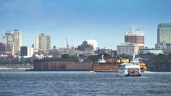 Staten Island ferry moving on Hudson river - New York city Stock Footage