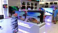 View of display of 4k tv on sale Stock Footage